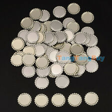 """100 Flat Flattened Linerless 1"""" Silver Chrome Tone Bottle Caps Crowns No Liners"""