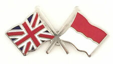 Great Britain & Indonesia Flags Friendship Courtesy Enamel Lapel Pin Badge
