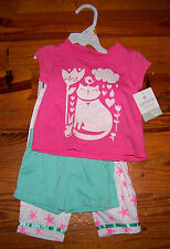 New! Girls CARTER'S 3pc Pink White Green Kitty Cat SeaShell Pajamas 12 Months
