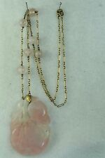 CHINESE ANTIQUE 14K GOLD CARVED ROSE QUARTZ NECKLACE