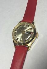 Vintage NOS 1960's Marcel Swiss Ronda 1017 Mechanical Red Leather Ladies Watch