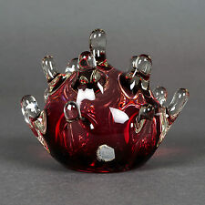 Unique Murano Glass Ring Holder Paperweight Burgundy Purple Color 13 fingers