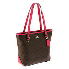 NWT Coach Sign Zip Top Tote Handbag in Brown/Pink Ruby F 34603 $295