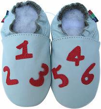 shoeszoo number light blue  6-12m S soft sole leather baby shoes