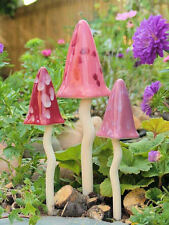 NEW TINKLING TOADSTOOLS SET OF 3 GIFT BOXED / FAIRY PINK  SHADES / MUSHROOMS