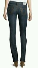 True Religion Straight Skinny Jeans Lonestar 24 $189 Dark Blue NWT Authentic