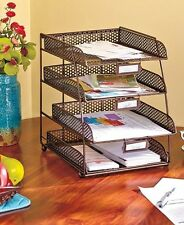Bronze Mesh Desktop File Organizer Tray Office Supply Storage Holder Desk