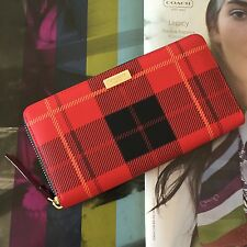 Kate Spade Plaid Pink Newbury Lane Printed Neda Zip Around Continental Wallet