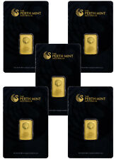 Perth Mint - Lot of 5 - 5 Gram .9999 Gold Bars - With Assay Certificate SKU30711