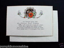 Vintage Unused Art Deco Xmas Greeting Card Hand Colored Holiday Poinsettia