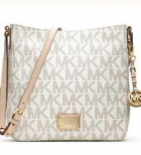 NWT Michael Kors Signature Logo Jet Set Travel Large Messenger Bag Vanilla Gold