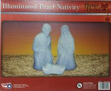 NEW 3 PC White Pearl Nativity Set Lighted Christmas Blow Mold Mary Joseph Jesus