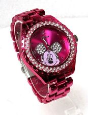 DISNEY MICKEY MOUSE PINK DIAL CRYSTAL PINK ION STAINLESS STEEL WATCH MK2134