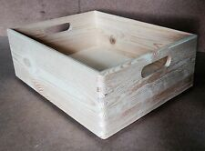 * Natural wood storage crate 35x25x14cm DD342 new A4 paper size (V)