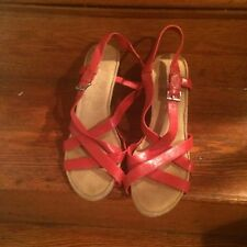 WOMENS AEROSOLES AT FIRST PLUSH RED WEDGE COMFORT SANDAL HEEL SIZE 12W WIDE NWOB