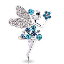 Diamante Silver & Ocean Blue Angel Brooch Pin BR164