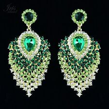 Cute 18K GP Green Crystal Peacock Feathers Chandelier Drop Dangle Earrings 04683