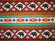 Navajo Native American Totem Bear Border Terracotta Cotton Fabric BTHY