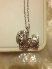 Designer SHIH TZU,LASA APSO SILVER NECKLACE PENDANT WITH GOLDEN TOPAZ CRYSTALS