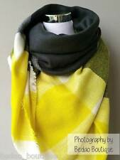 Blanket scarf, Oversized Scarf, Zara, Tartan Scarf by Bedao (Yellow, Black)