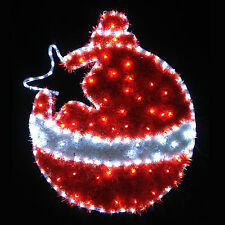 RED & WHITE LED Fronzoli NATALE Bauble LAMPEGGIANTE INDOOR / OUTDOOR Xmas FUNE LUCE