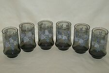 6 Libbey Smoke Color Fern Leaf Bamboo Tumblers Water 12 Ounce Glasses