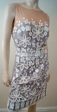 MANDALAY Grey Sheer Crochet Sequin Bead Embellished Sleeveless Evening Dress 10