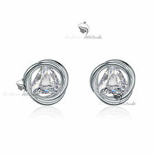 18k white gold gf made with SWAROVSKI crystal stud earrings round 3D