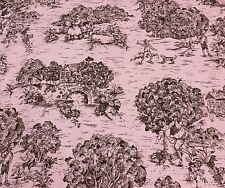 "PREMIER PRINTS VILLAGE TOILE PINK BROWN MULTI USE FABRIC BY THE YARD 54"" W"