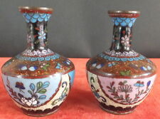 2 VASE EMAUX CLOISONNES ASIE CHINE CHINESE ENAMEL