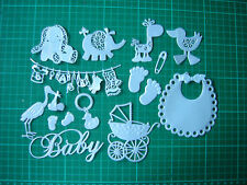 Bumper Set of Pearlescent Baby Boy Die Cut Card Toppers