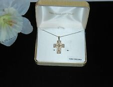 18K Gold Over Sterling Silver Cubic Zirconia Cross & Link Chain NWT