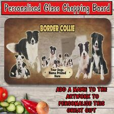 PERSONALISED BORDER COLLIE GLASS CHOPPING BOARD DOG PET HOUSE WARMING GIFT