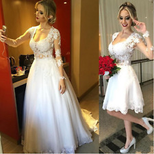Two Dresses in One Short Wedding Dress with Detachable Skirt Lace Long Sleeve