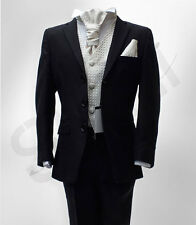 BOYS 5 PIECES FORMAL BLACK WEDDING SUIT PAGE BOYS CRAVAT SUIT AGE 6 M TO 15 YRS