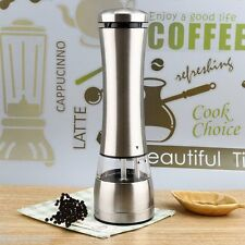 Electric Stainless Steel Salt Pepper Salt Mill Grinder Home Kitchen Tool Sliver