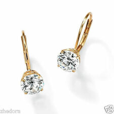 3.0 CT BRILLIANT ROUND DROP DANGLE LEVERBACK EARRINGS 14K YELLOW GOLD