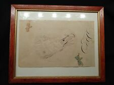 Antique Original Folk Art Ink Drawing of an Eagles Head, 1800's w Calligraphy