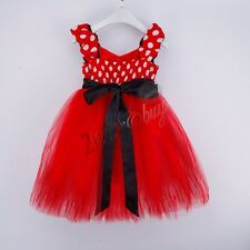 Baby Girls Kids Toddler Minnie Mouse Cartoon Cute Dress Party Bow Dress Costume
