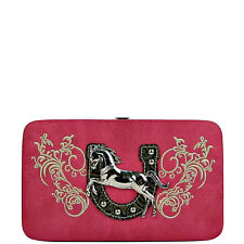 HOT PINK STITCHED TOOLED HORSE HORSESHOE LOOK FLAT THICK WALLET NEW