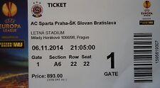 TICKET UEFA EL 2014/15 Sparta Praha - Slovan Bratislava
