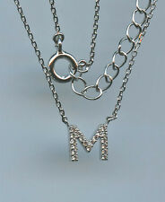 PETITE 925 STERLING SILVER MICRO PAVE CZ M INITIAL LETTER NECKLACE