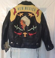 "New Vintage Avirex ""New Mexico"" Leather Motorcycle Black Jacket - Size XS"