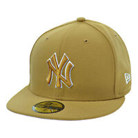 New Era New York Yankees 59Fifty Men's Fitted Hat Cap Wheat/White 80337989