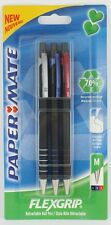 3 x Papermate Flexgrip Retractable Ballpoint pens Black Blue Red 70% recycled