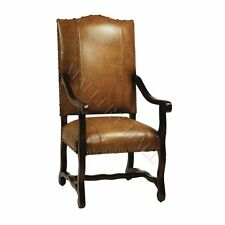 Spanish Leather Large Nail Head Arm Dining Chairs (2)