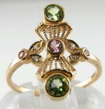 DIVINE 9CT ART DECO INSP PINK TOURMALINE  PERIDOT & DIAMOND RING