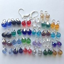 25 Pairs Crystal Earring charms,2 pcs Sterling Silver Interchangeable Lever back