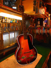 """RARE 1940's Del Oro Archtop Guitar, Stunning Graphics """"Lucky Seven Shamrock"""""""