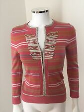 Marc Jacobs Women's Pink Stripped Wool Crewneck Sweater W/ Silver Detail Size S
